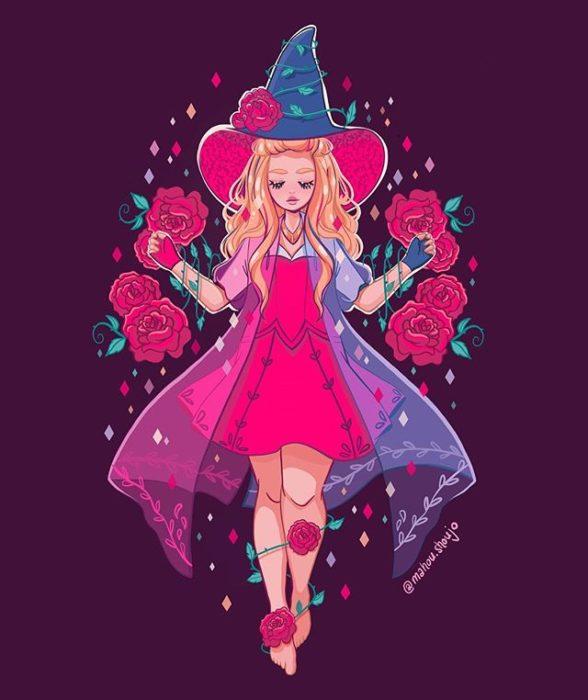 Aurora con disfraz de bruja, ilustrada por Meri