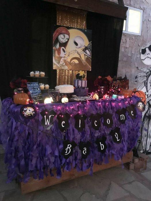 Mesa de dulces baby shower de El extraño mundo de Jack