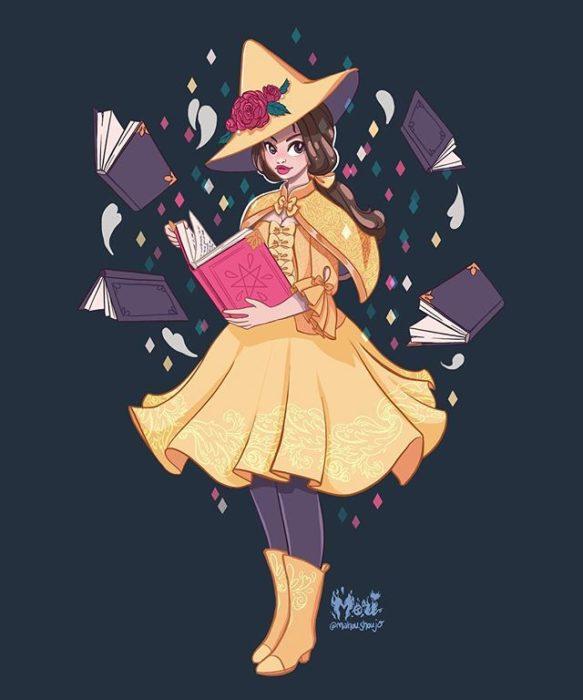 Bella con disfraz de bruja, ilustrada por Meri