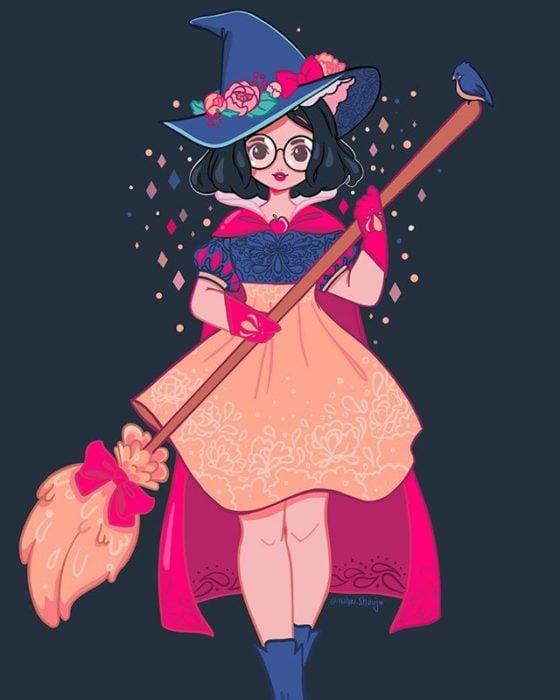 Blanca Nieves con disfraz de bruja, ilustrada por Meri