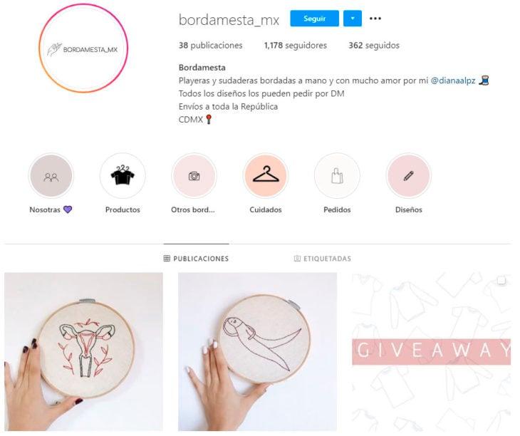 Perfil de instagram de la marca de ropa mexicana Bordamesta