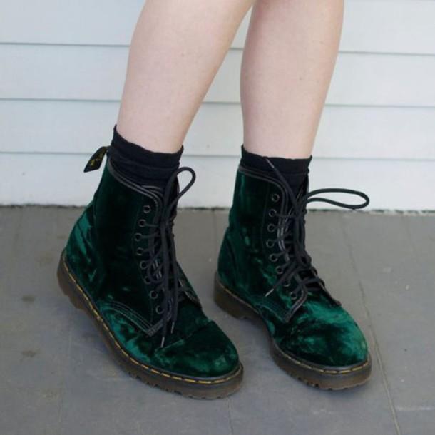 Dr. Martens boots in green velvet