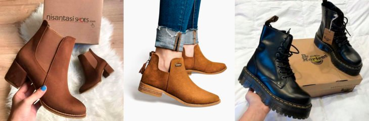 Different models of ankle boots