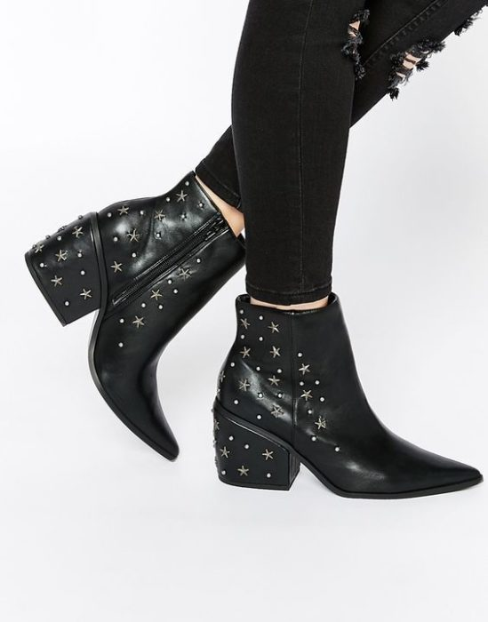 Black pointed toe ankle boots with star details