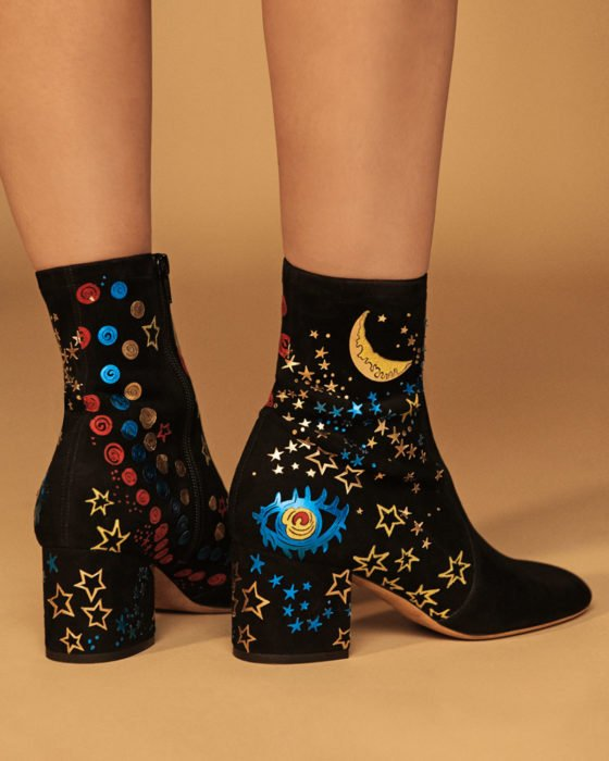 Ankle boots embroidered with stars and planets