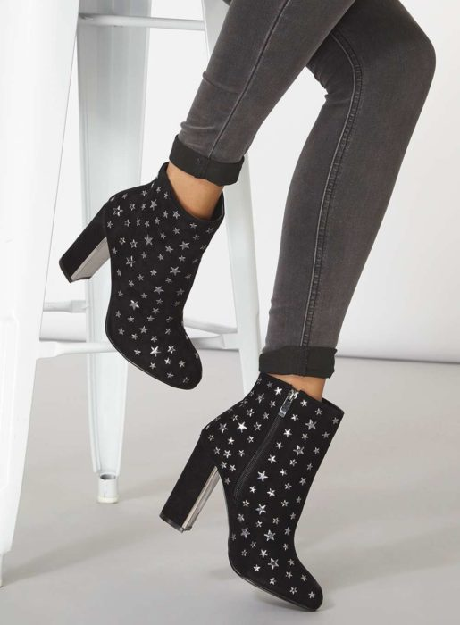 Studded star ankle boots