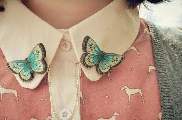Broche para camisa en forma de mariposa