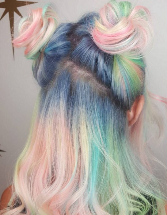 Girl with honorable hair, straight and dyed in pastel rainbow colors, blue, green, yellow, pink and purple, kawaii hairstyle with two chongos Sailor Moon style