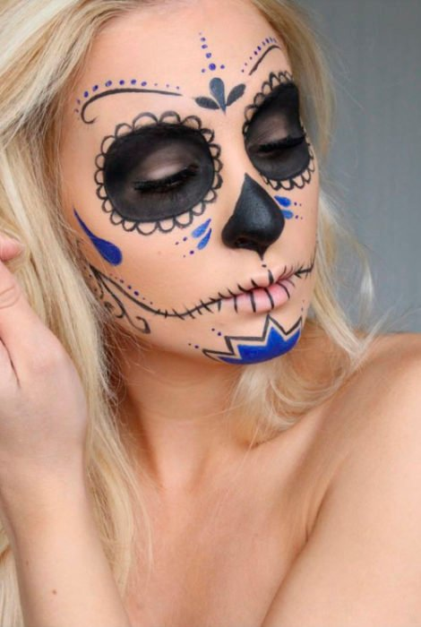 Catrina makeup on full face, in black and royal blue tones