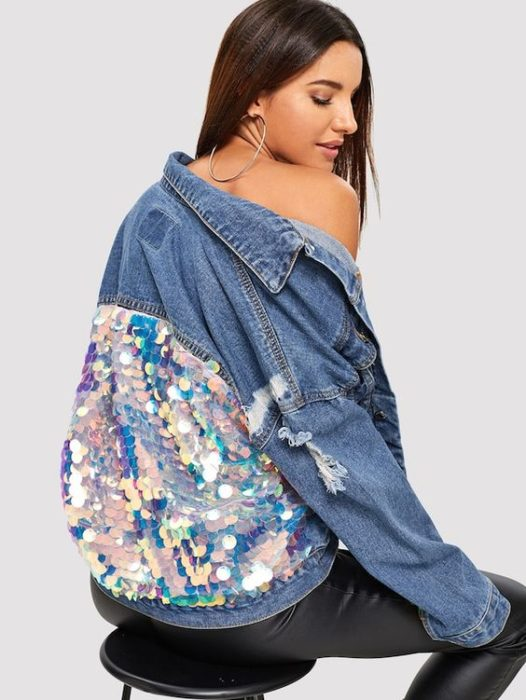 Custom denim jacket with iridescent sequins on the back