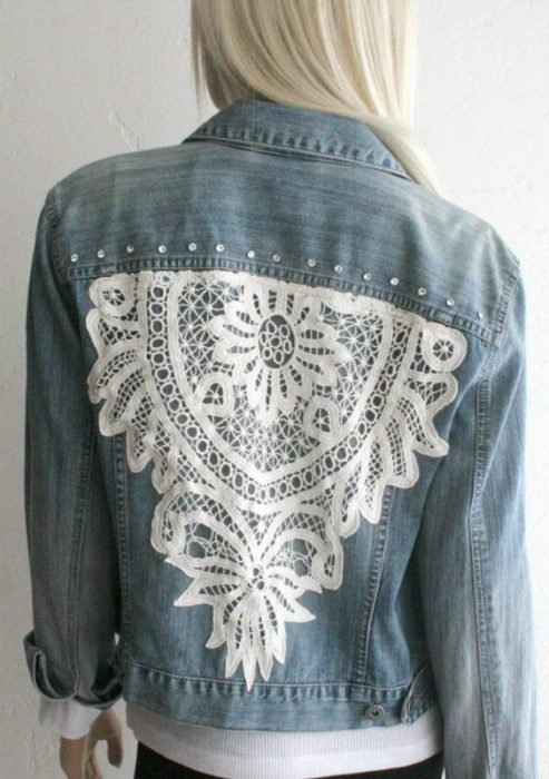 Custom denim jacket with lace on the back and some pearls