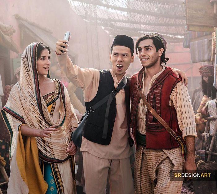 Syahril Ramadan en una foto junto al elenco de Aladdín