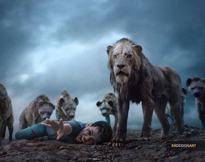 Syahril Ramadan en una foto junto a Scar de El rey león