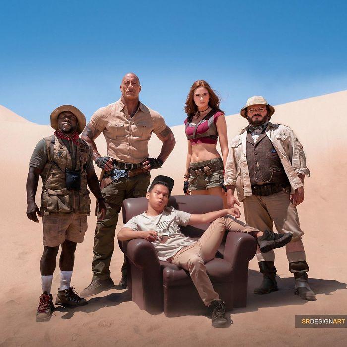 Syahril Ramadan en una foto junto al elenco de Jumanji