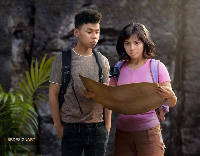 Syahril Ramadan en una foto junto a Dora la exploradora