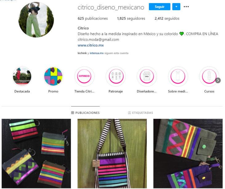 Perfil de instagram de la marca de ropa mexicana Cítrico