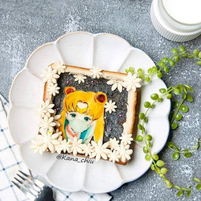 Rebanada de pan tostado inspirado en Sailor Moon