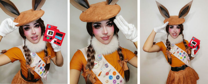 Drag Queen C-PHER usando el cosplay del pokémon Eevee