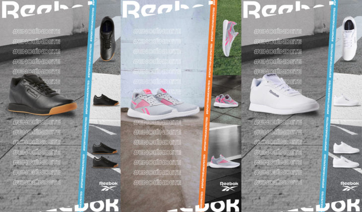 Tenis Reebok negros, blancos, grises y rosas