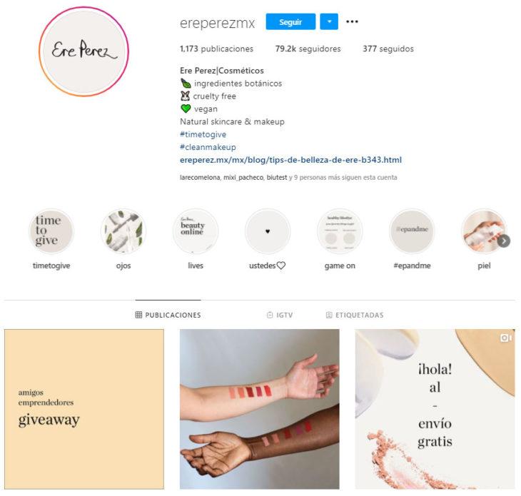 Screen shot of Ere Perez's Instagram profile