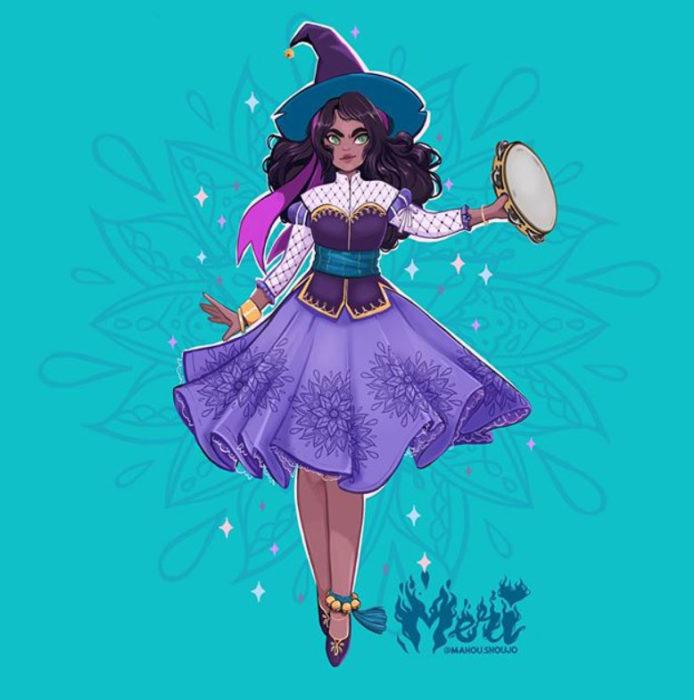 Esmeralda con disfraz de bruja, ilustrada por Meri