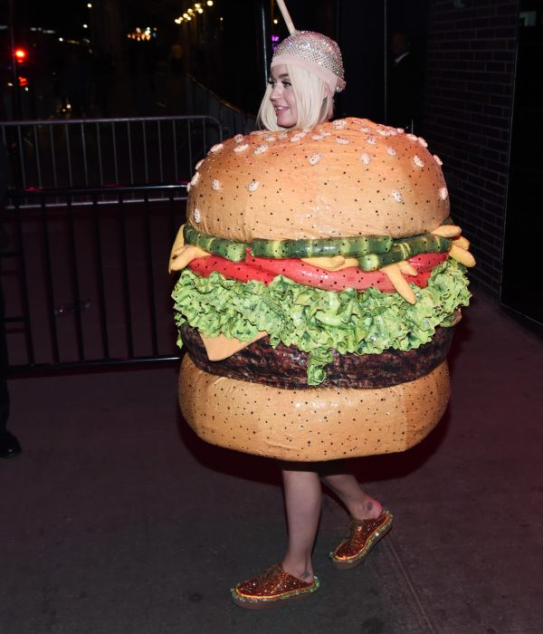 Katy Perry wearing a hamburger outfit with matching shoes