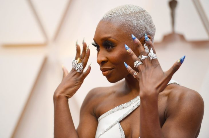 Cynthia Erivo with a Van Gogh painting manicure