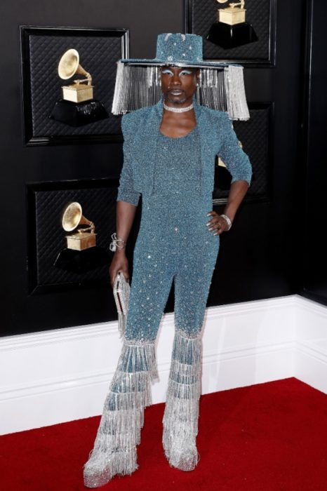 Billy Porter wearing a glitter outfit in blue with silver