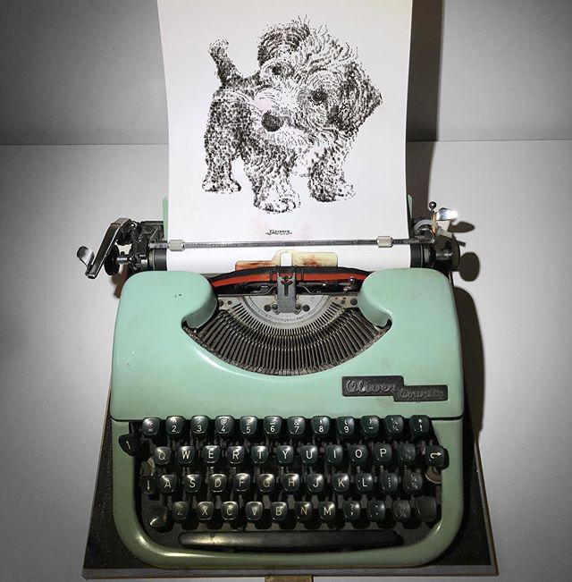 Dibujo de James Cook hecho en una máquina de escribir de un perrito llamado Florence