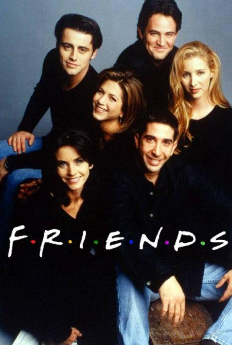 Imagen de la serie Friends en la que aparecen los personajes