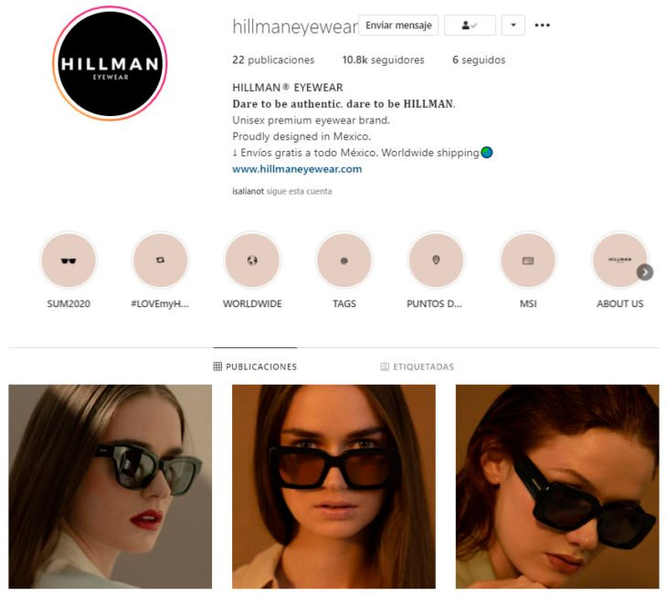 Perfil de Instagram de Hillman Eyewear