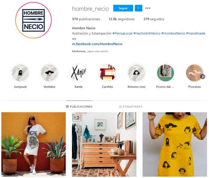 Perfil de instagram de la marca de ropa mexicana Hombre Necio