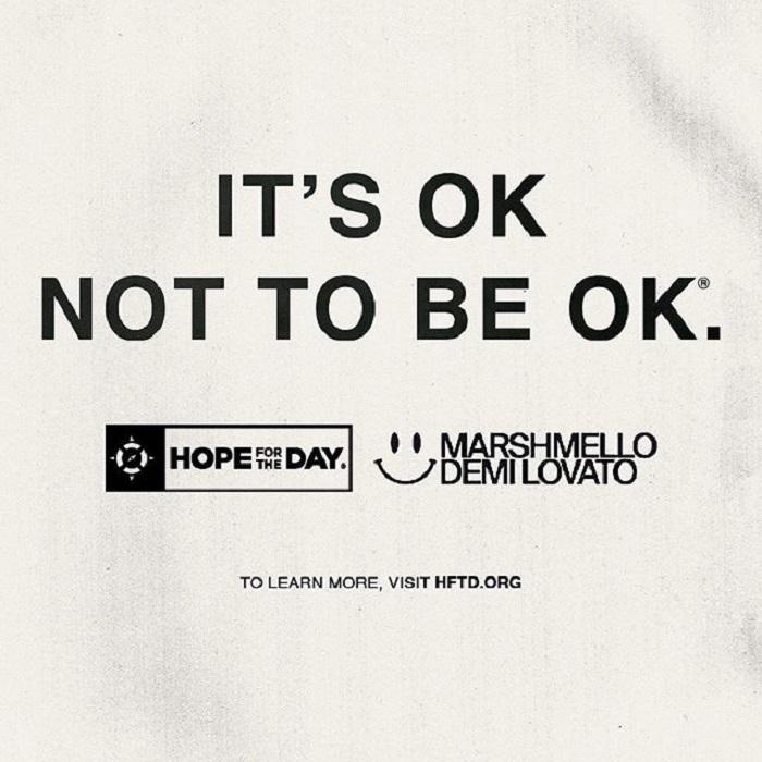 Imagen de la canción Ok Not To Be Ok, la cual inicia información acerca de la prevención del suicidio