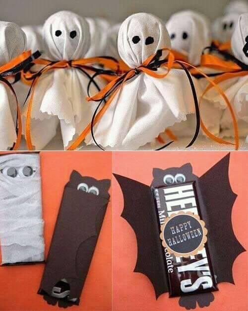 Dulces decorados en forma de fantasmas y murciélagos