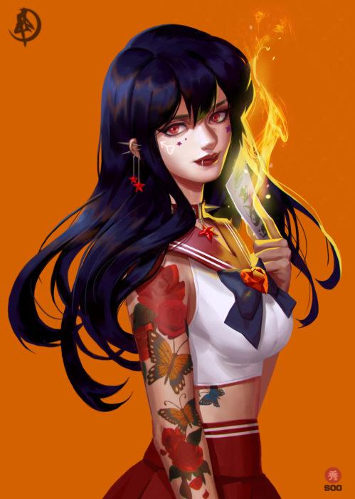 Ilustraciones de Sailor Moon versión rudas creadas por soo_k; Marte, Mars, Rei Hino con tatuajes de flores y mariposas en el brazo, perforaciones en la oreja y labio
