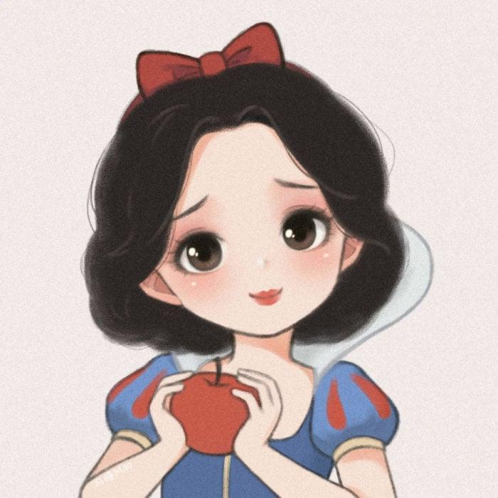 Artista china ilustra princesas Disney en versión tierna; Blancanieves