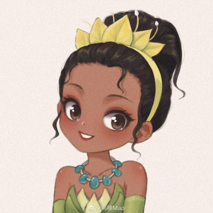 Artista china ilustra princesas Disney en versión tierna; Tiana, La princesa y el sapo