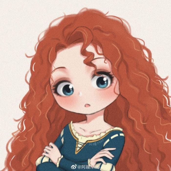 Artista china ilustra princesas Disney en versión tierna; Mérida, Valiente