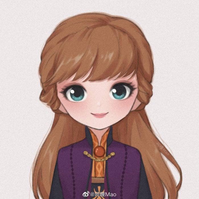 Artista china ilustra princesas Disney en versión tierna; Anna, Frozen