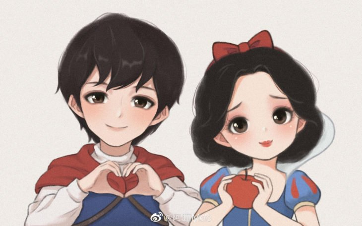 Artista china ilustra princesas Disney en versión tierna; Blancanieves, príncipe Florian