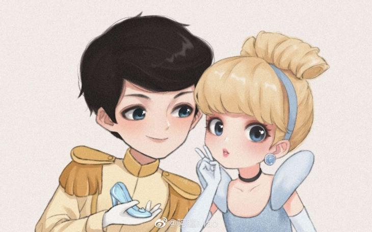 Artista china ilustra princesas Disney en versión tierna; Cenicienta, príncipe Henry