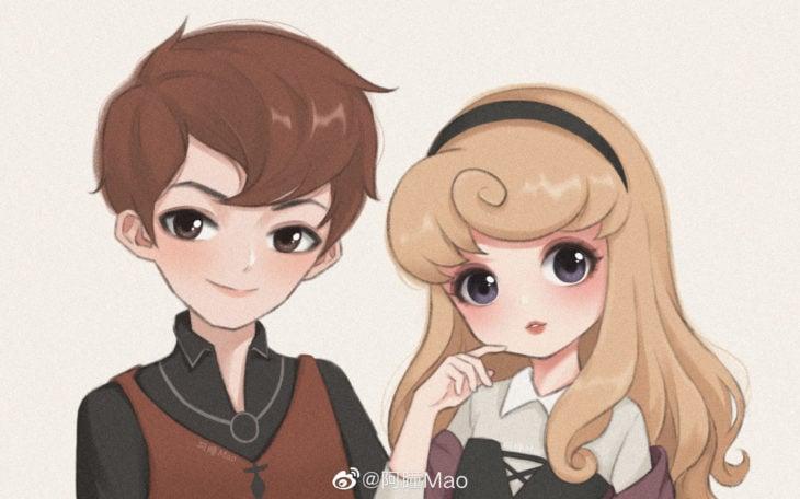 Artista china ilustra princesas Disney en versión tierna; Aurora, príncipe Felipe, La bella durmiente