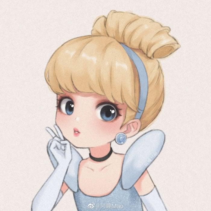 Artista china ilustra princesas Disney en versión tierna; Cenicienta