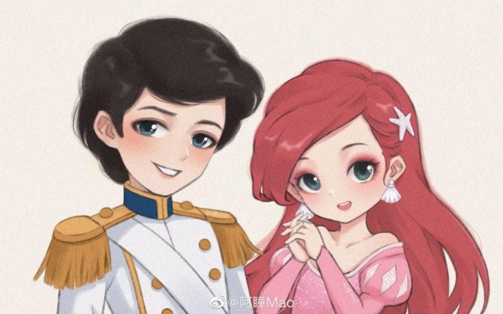 Artista china ilustra princesas Disney en versión tierna; Ariel, Eric, La Sirenita
