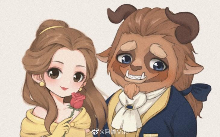 Artista china ilustra princesas Disney en versión tierna; Bella y Bestia, La bella y la bestia
