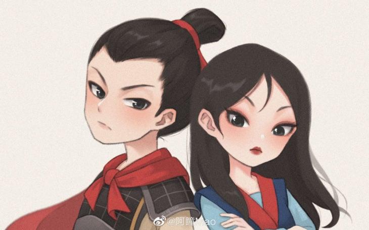 Artista china ilustra princesas Disney en versión tierna; Mulan y Li Shang