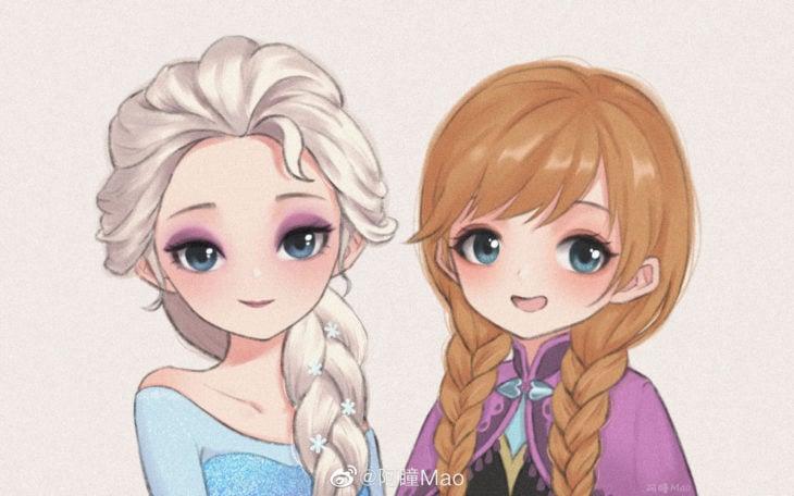 Artista china ilustra princesas Disney en versión tierna; Elsa, Anna, Frozen