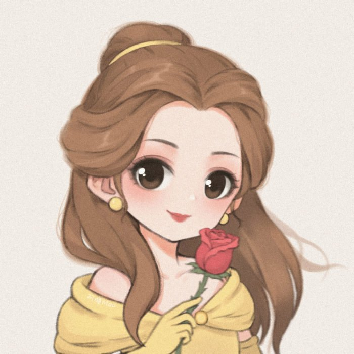 Artista china ilustra princesas Disney en versión tierna; La Bella y la Bestia