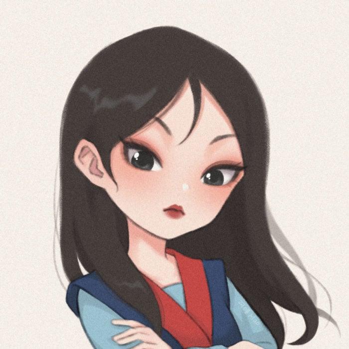 Artista china ilustra princesas Disney en versión tierna; Mulan