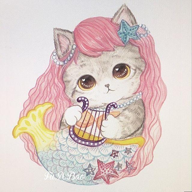 Ilustración kawaii de gatito como sirena